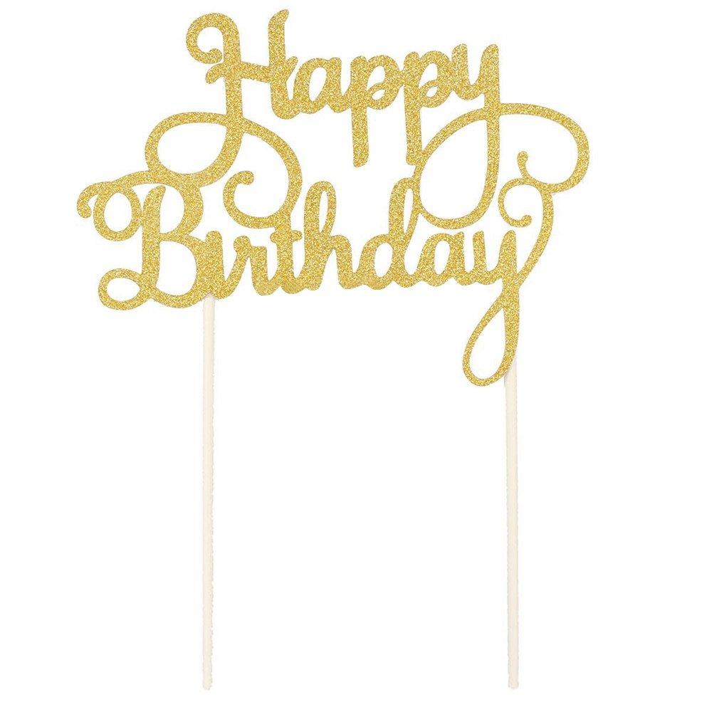Merssavo g/âteau danniversaire Happy Birthday Candle f/ête Mode D/écoration 1 dor/é