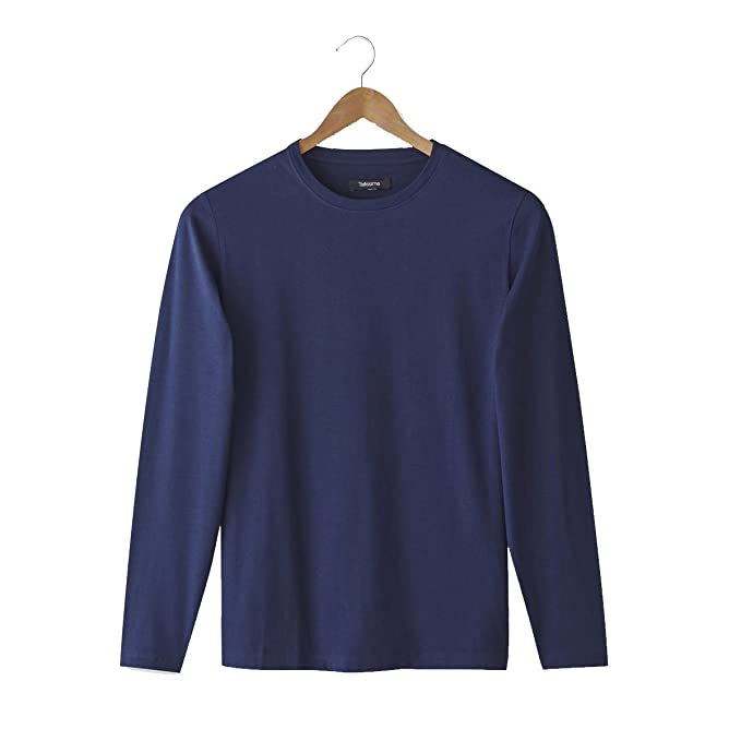 4aa88be047e8 Image Unavailable. Image not available for. Color  La Redoute Castaluna for  Men Mens Cotton T-Shirt with Long Sleeves and Round Neck
