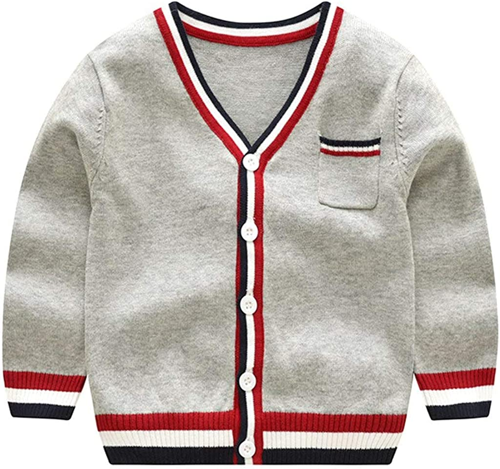 Long Sleeve V-Necked Knitted Button Sweater Coat Spring Autumn Tops for 1-9Y Tonwod Baby Boy Cardigan