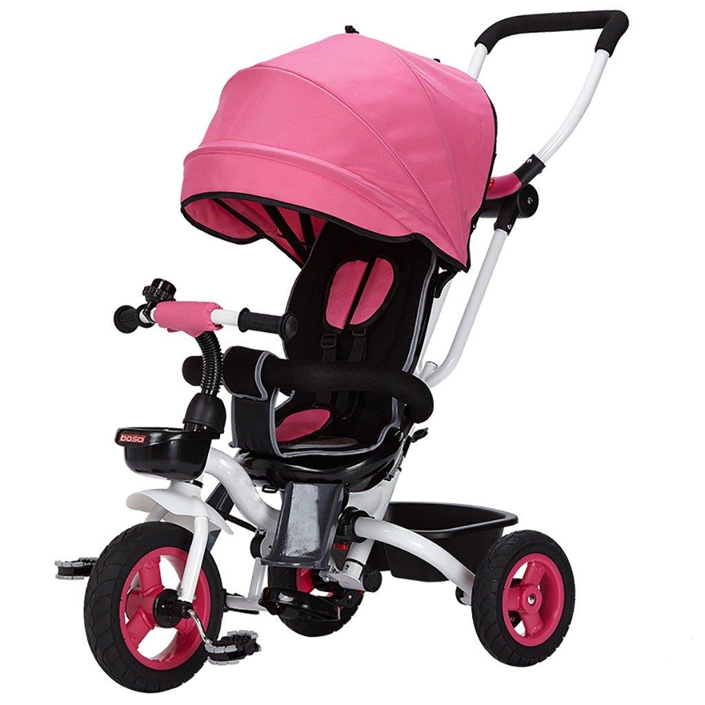 三輪車の赤ちゃんキャリッジバイク子供のおもちゃの車Foldableバイラテラルステアリング3チタン車輪保護自転車、(男の子/女の子、6ヶ月-5歳) (色 : ピンク ぴんく) B07DVCH9QZ ピンク ぴんく ピンク ぴんく