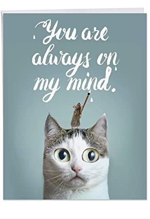 Amazoncom Jumbo Miss You Card Cat Sent Greetings With A Cute