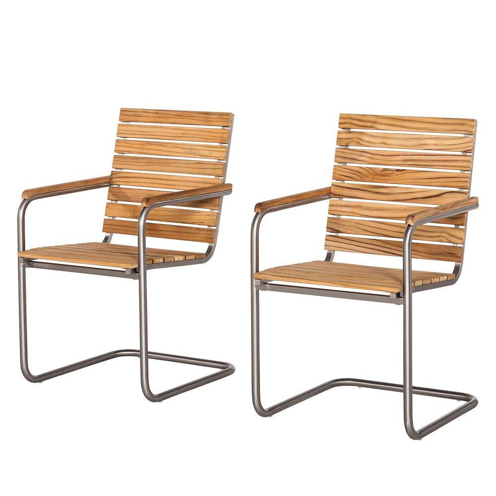 Ambientehome Stuhl, 2-er Set Sessel Teakholz Edelstahl Freischwinger Mia, braun, 56x61x87 cm, 69293