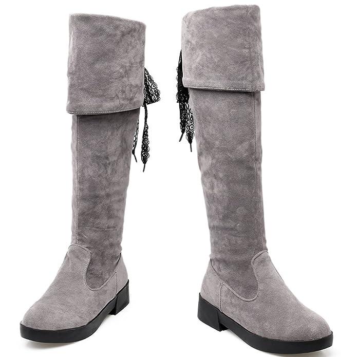 Lang Stiefel Damen Herbst Winter Warm Faux Wildleder Schwarz Spitzen Flach Overknees Stiefel von Bigtree 36 EU lUrzeBWF