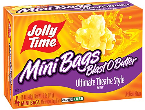 Mini Microwave Popcorn (Jolly Time Blast O Butter Movie Theater Microwave Popcorn Mini Bags, 4-Count Boxes (Pack of 12))