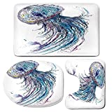 3 Piece Bath Mat Rug Set,Jellyfish,Bathroom Non-Slip Floor Mat,Aqua-Colors-Art-Ocean-Animal-Print-Sketch-Style-Creative-Sea-Marine-Theme,Pedestal Rug + Lid Toilet Cover + Bath Mat,Blue-Purple-White