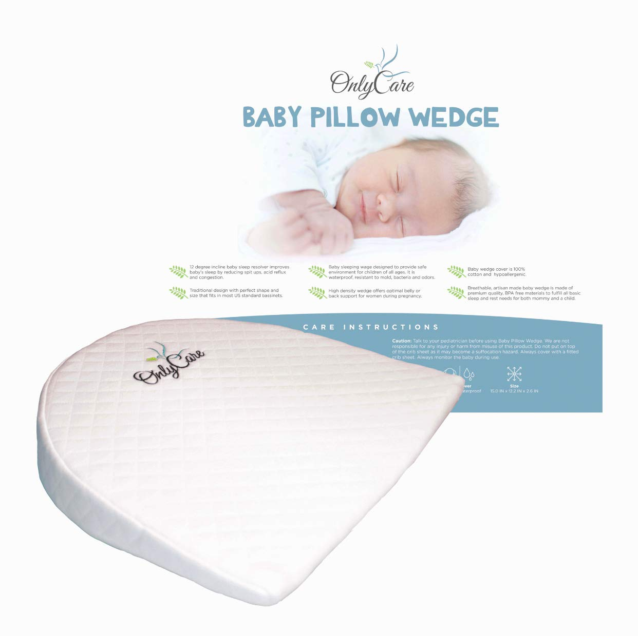 OnlyCare Baby Wedge Pillow | Best for Infants High Density Foam with Waterproof Layer & Cotton Cover | Crib Sleep Positioner for Reflux and Colic | Pregnancy Support Pillow 2019 by OnlyCare