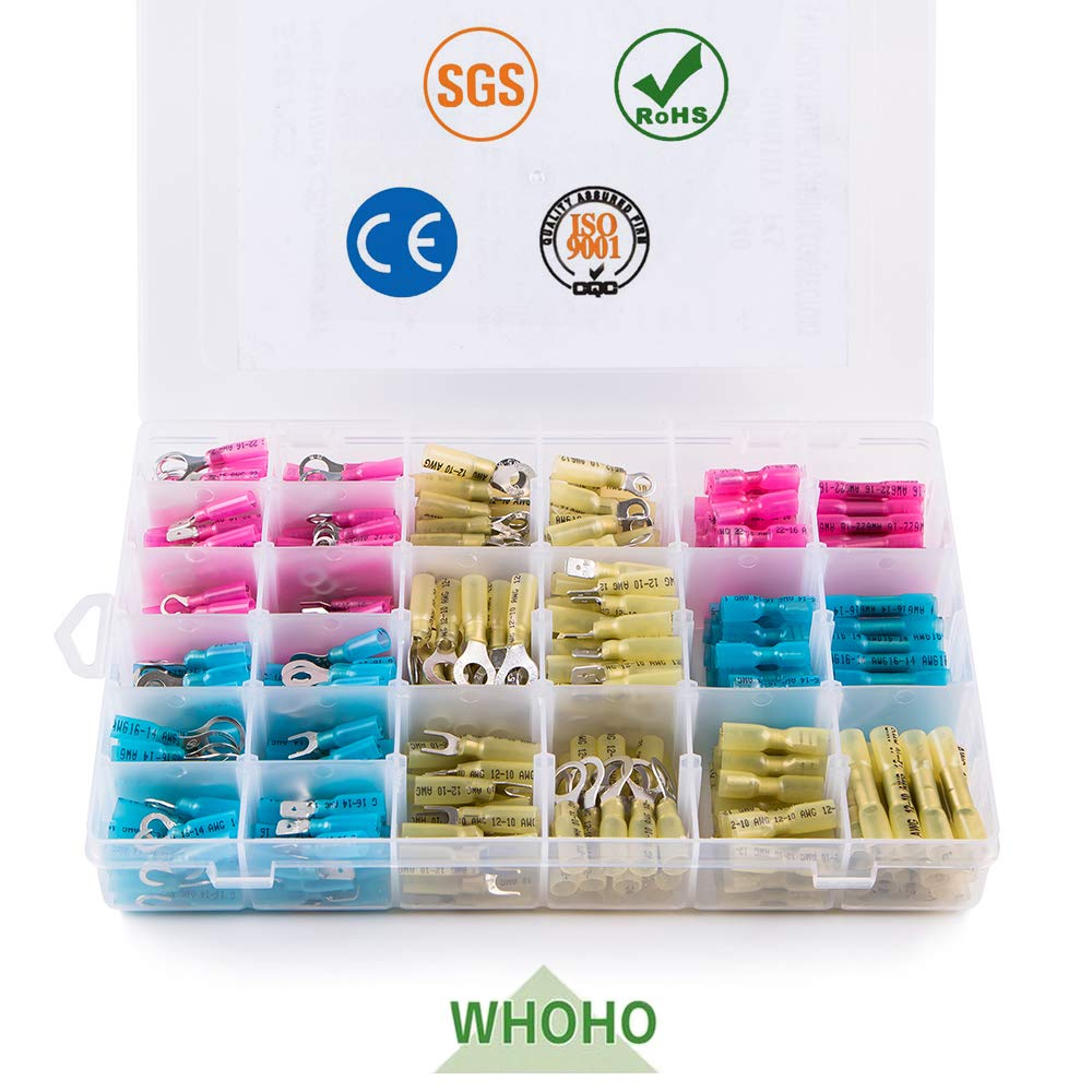 540 PCS Heat Shrinkable Connector, DIY Insulated Waterproof Crimp Connector, Marine Automotive Electrical Terminal Kit, Ring Fork Hook Butt Splices.CE, RoHS, SGS Certification. by WHOHO