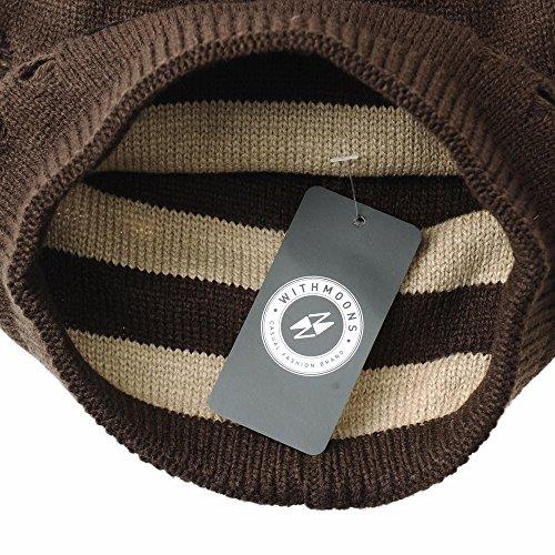de Eagle Slouchy Vintage Marrón Gorros Beanie Hat WITHMOONS Distressed Punto Patch CR5806 fqAwZ