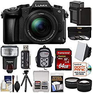 Panasonic Lumix DMC-G85 4K Wi-Fi Digital Camera & 12-60mm Lens with 64GB Card + Battery & Charger + Backpack + Tripod + Flash + Tele & Wide Lens Kit