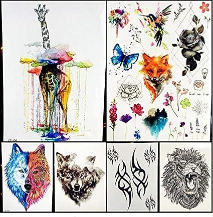 ruofengpuzi Adesivo tatuaggioAcuarela Nube Lluvia Jirafa Tatuaje ...