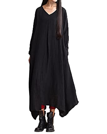 884751489b StyleDome Women s Linen Long Sleeve V Neck Retro Kaftan Casual Loose Plus  Size Long Maxi Dress