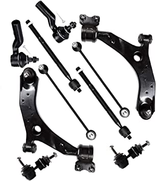 Sway Bar 8PC Front Lower Control Arms w//Ball Joint Inner Outer Tie Rods for 2004-2009 Mazda 3 Non-Turbo - Detroit Axle 2006-2014 Mazda 5 Non-Turbo