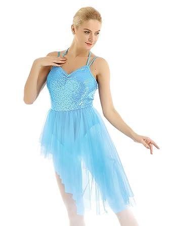 YiZYiF Vestido Danza Lentejuelas Mujer Vestido Ballet Tul Chica ...