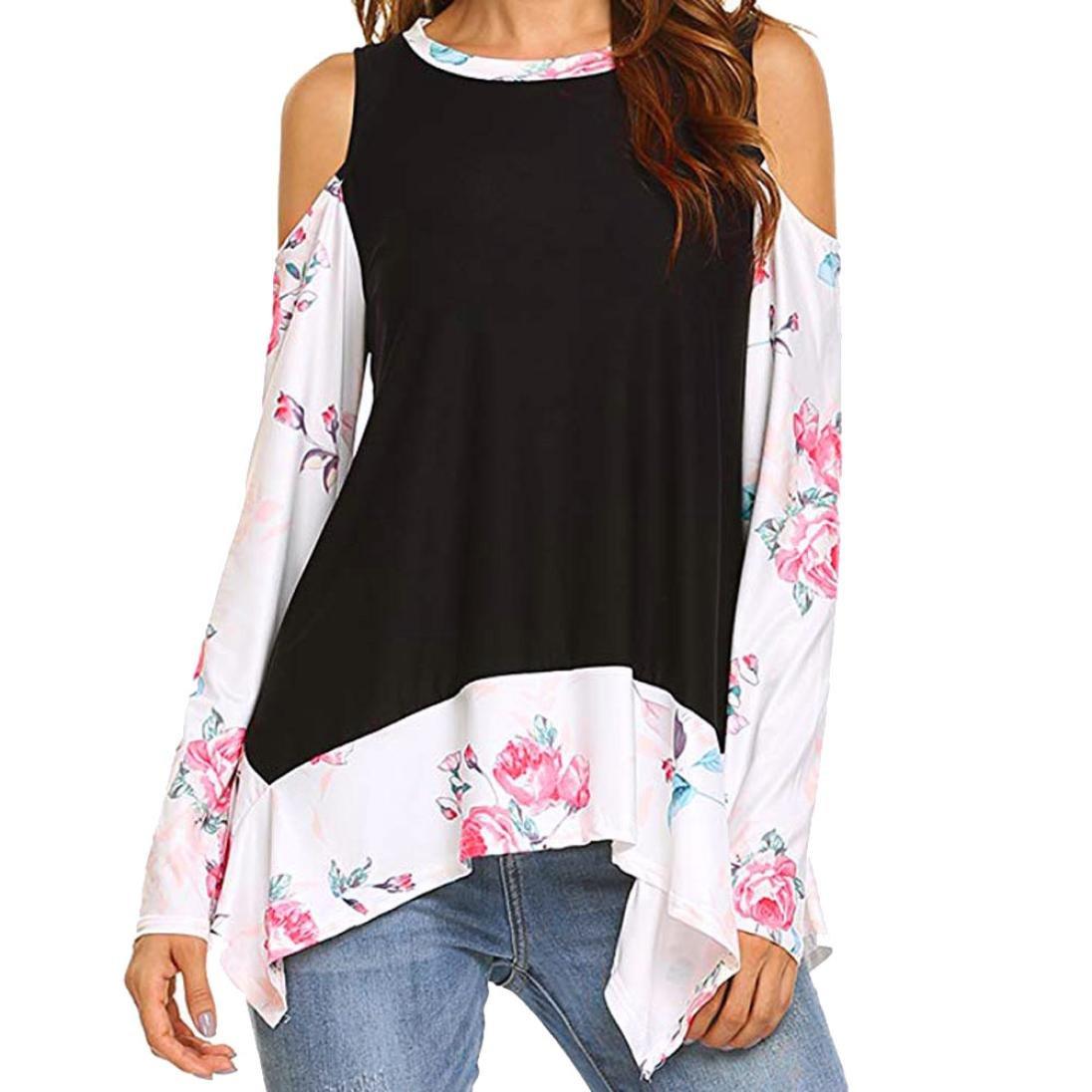 Manga Larga de Estampados Florales para Mujer Camiseta de túnicas de Hombro frío Blusa Tops ❤ Manadlian: Amazon.es: Ropa y accesorios