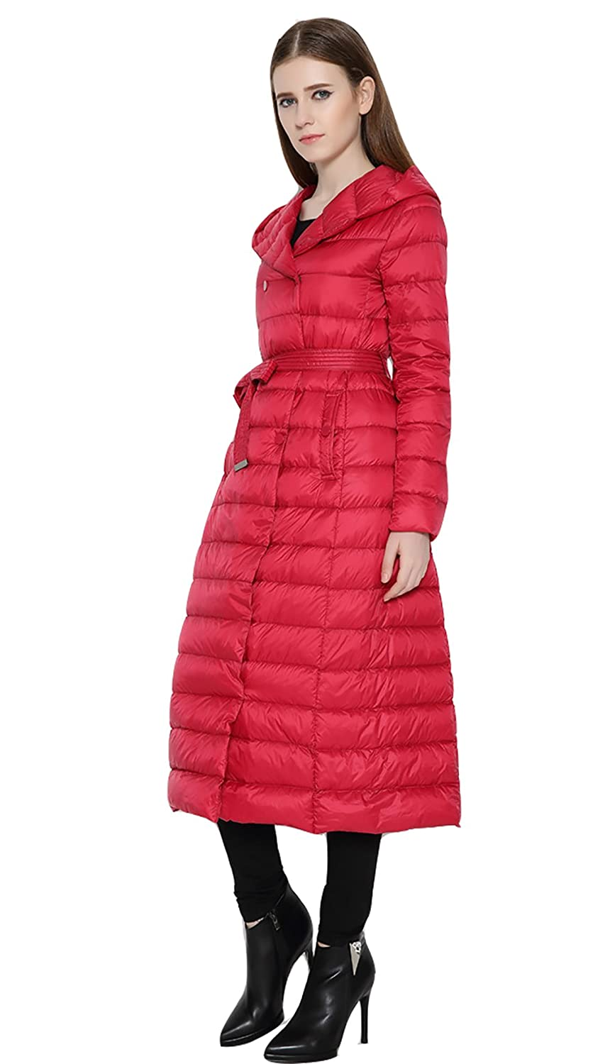 Wicky LS Women's Long Lightweight Thin Down Coat with Hood Double-Breasted