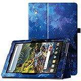 Famavala Folio Premium Vegan Leather Case Cover for 10' Verizon Ellipsis 10 HD (QTAXIA1) Tablet 2017 [Not Fit Ellipsis 10 2015,Pls Check Second Picture] (BlueSky)