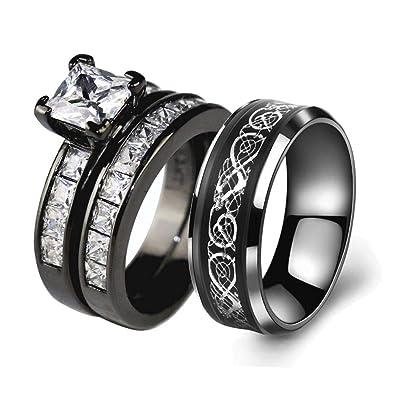 Amazon.com: Juego de anillos de novia para pareja con ...