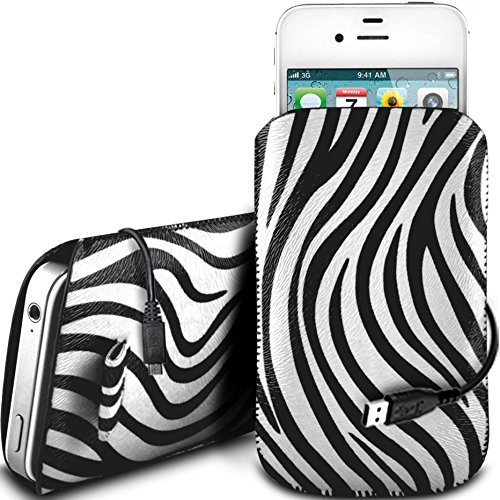 N4U Online - Apple Iphone 5S protection en cuir PU Zebra Conception Pull Tab cordon glisser Housse Etui Quick Release et de données USB Câble de charge - Blanc