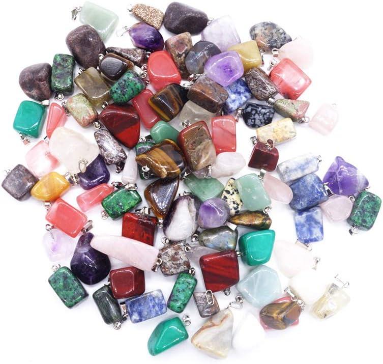 Artibetter Colgantes de Piedra de ágata de Cristal Natural de 20 Piezas de Cristales de Chakra para Hacer joyería de artesanía Bricolaje Mixta (Hebillas de Plata)