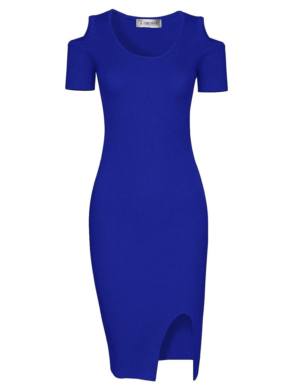 Tom's Ware Damen Stylisches Bodycon Midi-Kleid Gestrickt Schulteroeffnungen
