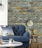 "HaokHome 7704 Brick Wallpaper Rolls Blue/Yellow/Brown/Black Distressed Murals Home Kitchen Bathroom Decoration 20.8"" x 32.8ft"