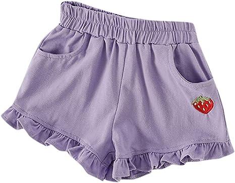 Julhold Estate Neonata per Bambini Candy Colore Cotone Foglia di Loto Pantaloncini Elastico in Vita Pantaloni 1-6 Anni