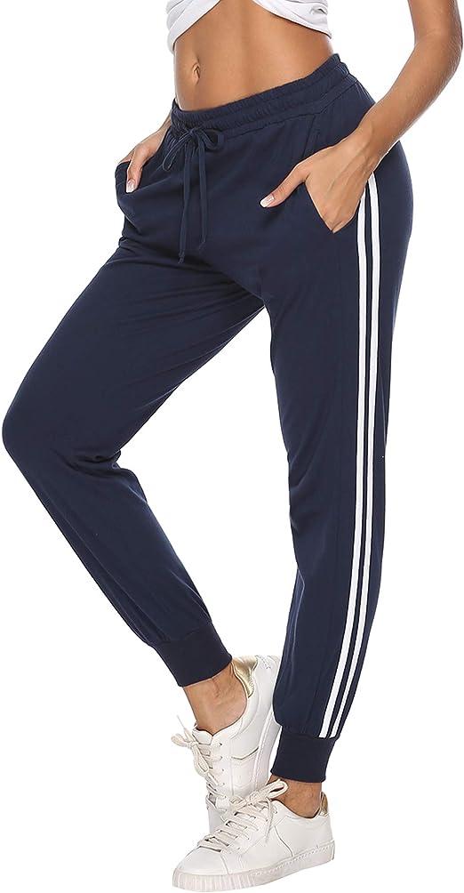 Hawiton Pantalon de Sport Femme 100/% Coton Stripe Pantalon d/écontract/é Pantalon de Jogging Pantalon dentra/înement Fitness Taille Haute Long Coton