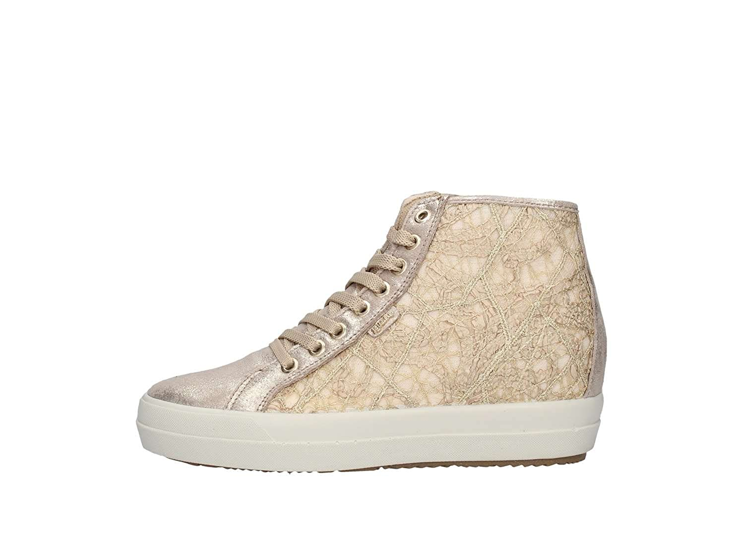 IGI&CO 11502 Taupe Scarpa Donna Sneaker Zeppa Interna Pelle e Pizzo Made in Italy Taupe