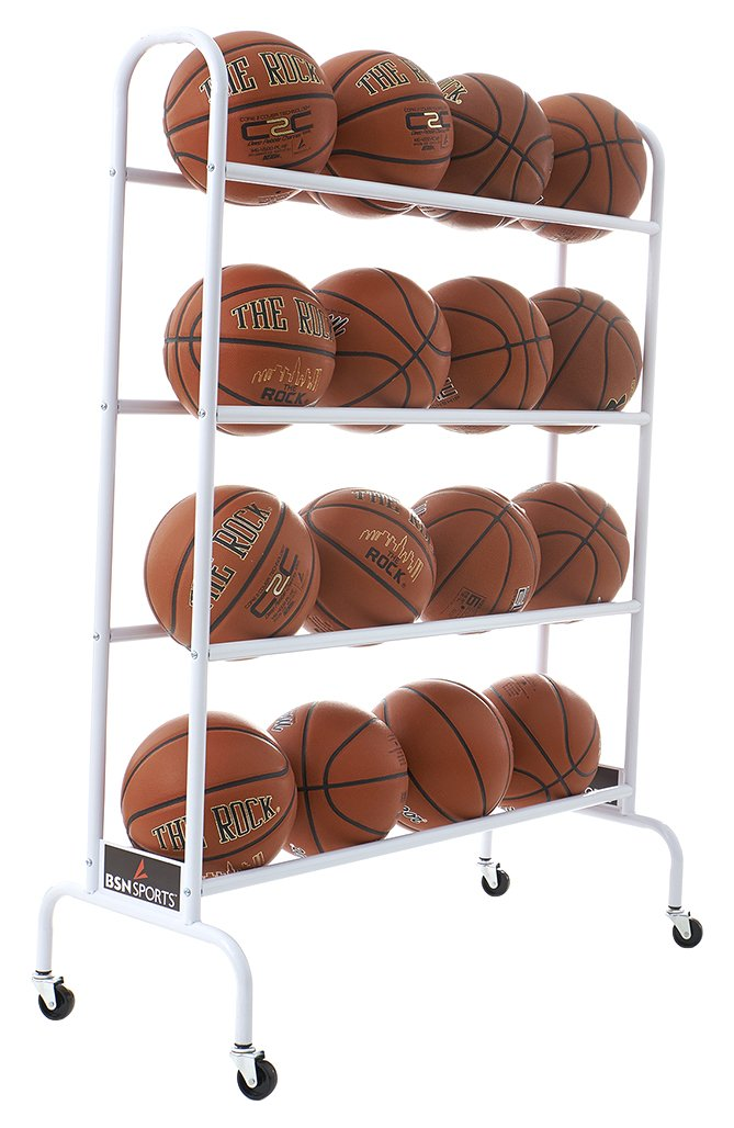 BSN Sports 16 Ball Cart Wide Base (16 Balls), White BCART16W