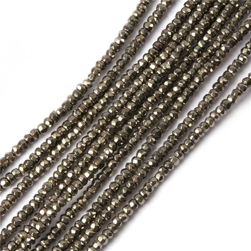 - GEM-insid Silver Pyrite Gemstone Loose Beads Natural Energy Power Beads For Jewelry Making 2X3mm Roundelle Faceted 15 Inches