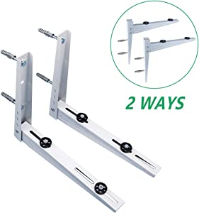 Forestchill Wall Mount Bracket, 2-Ways Mounting, fits Mini Split Ductless Outdoor Unit Air Conditioner Condensing Units Heat Pump System Condenser Universal, Support up to 240lbs, 7000-10000BTU