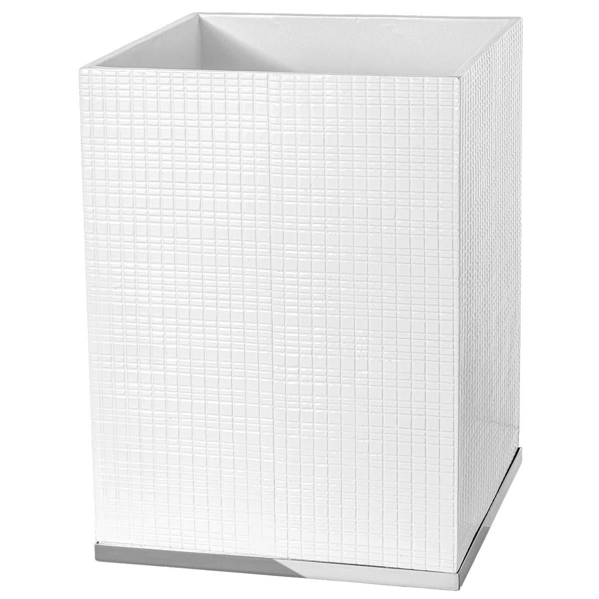 Creative Scents Estella Small White Decorative Bathroom Trash Can - Powder Room Durable Garbage Can Wastebasket Bin for Diaper, Paper, Wips - Space Friendly Bath Waste Basket
