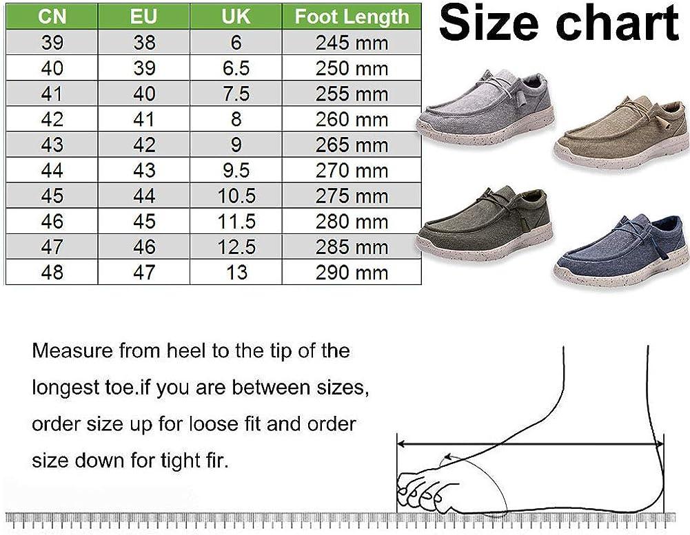 Gaatpot Hombre Zapatos de Lona Mocasines Verano Sneaker Zapatos Casual Canvas Ponerse Zapatillas de Deporte Caqui 47EU