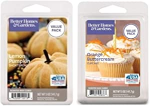 Better Homes and Gardens Wax Cubes Baking Scented Melts, 2-Pack Value Pack Bundle (5-oz Lemon Pumpkin Shortbread + 5-oz Orange Buttercream Cupcake)