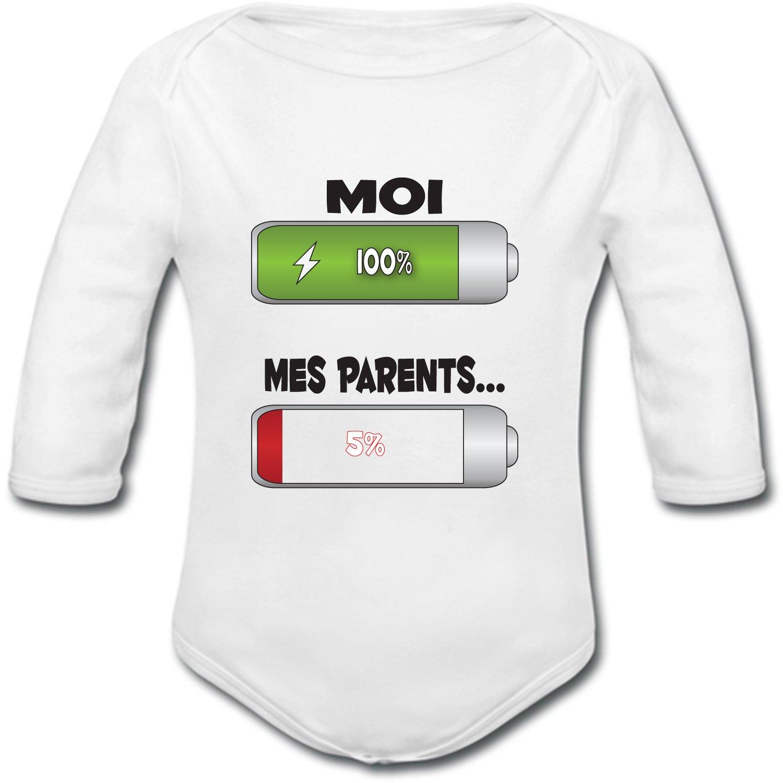 YONACREA Humour Batterie D/écharg/ée Body B/éb/é Manches Longues