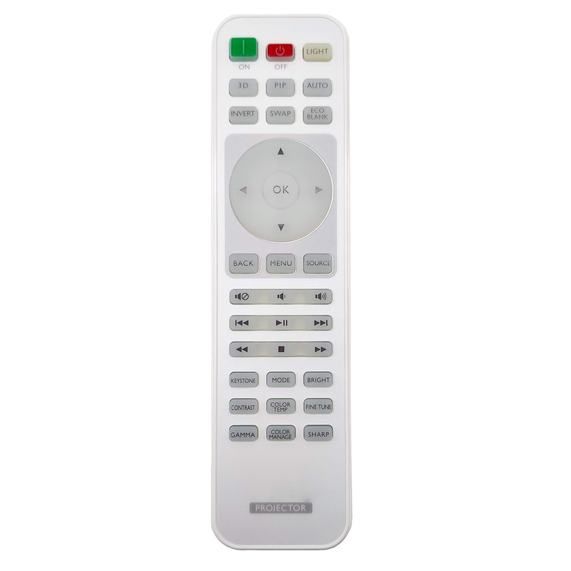 InTeching Projector Remote Control for BenQ HT1075, HT1085ST, HT2050A, HT2150ST, HT3050, HT4050, MH684, TH670s, TH683, W1070+W, W1075, W1080ST+, W1090, W1110s, W1120, W1210ST, W1350, W2000+, W3000 by INTECHING