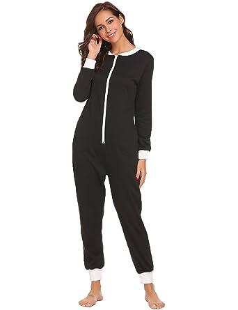 a1f2280817 Schlafoverall Jumpsuit Damen Overall Pyjama Onesie Einteiler Lang Strampler Kuschelig  Schlafanzug Nachtwäsche Langarmshirt Playsuit mit Reißverschluss