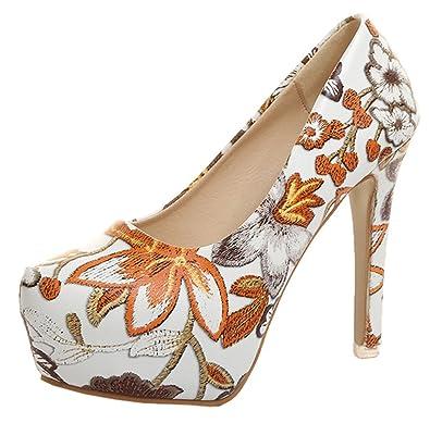 2cc9ee37c733 Snone Escarpins Femme Talons Hauts Style National Chaussures Simples  Chaussures à Talons Fleur Impression Talons Hauts