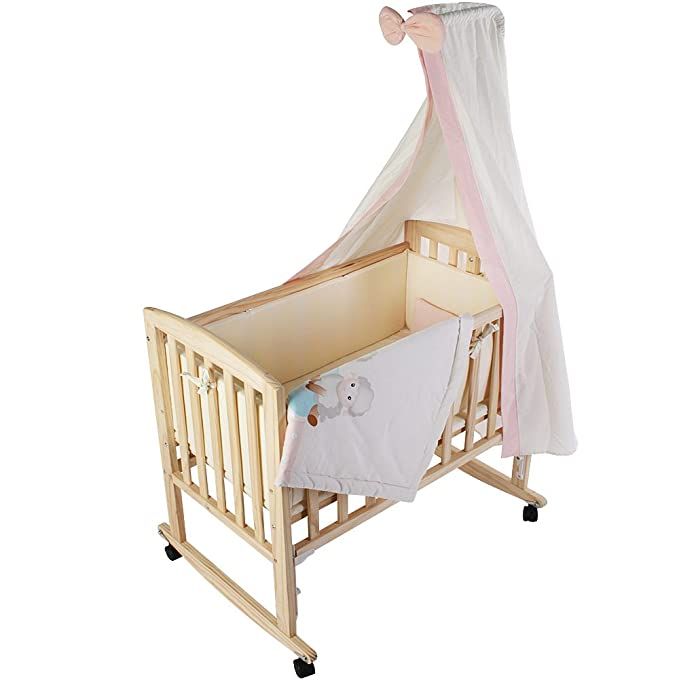 Infantastic® - BAWG01Pinksky - Cuna multifunción 3 en 1 - Incluye colchoneta, ropa de cama y dosel - Aprox. 84 x 48 x 74 cm - Rosa: Amazon.es: Bebé
