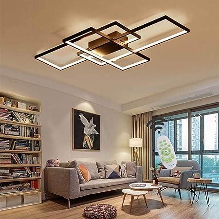 Moderna lámpara LED de Techo Para Salón Regulable, Pantalla de Acrílico Iluminación de Techo Diseño Cuadrado Lámpara de Comedor con Mando a Distancia