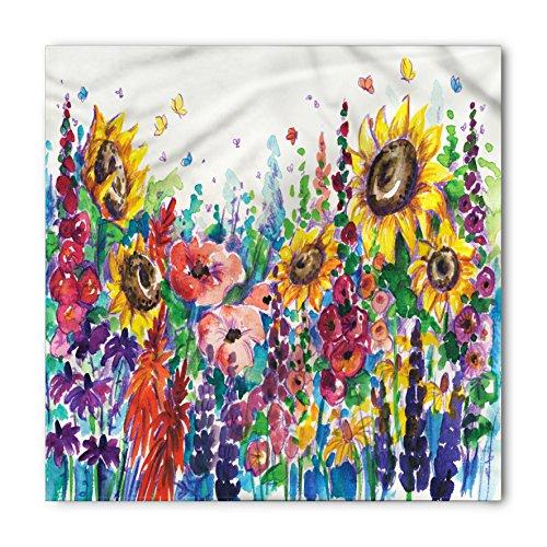 - Lunarable Unisex Bandana, Floral Watercolor Wildflower Garden, Dark Indigo