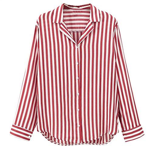 Women Ladies Striped Blouse, Long Sleeve Button Work