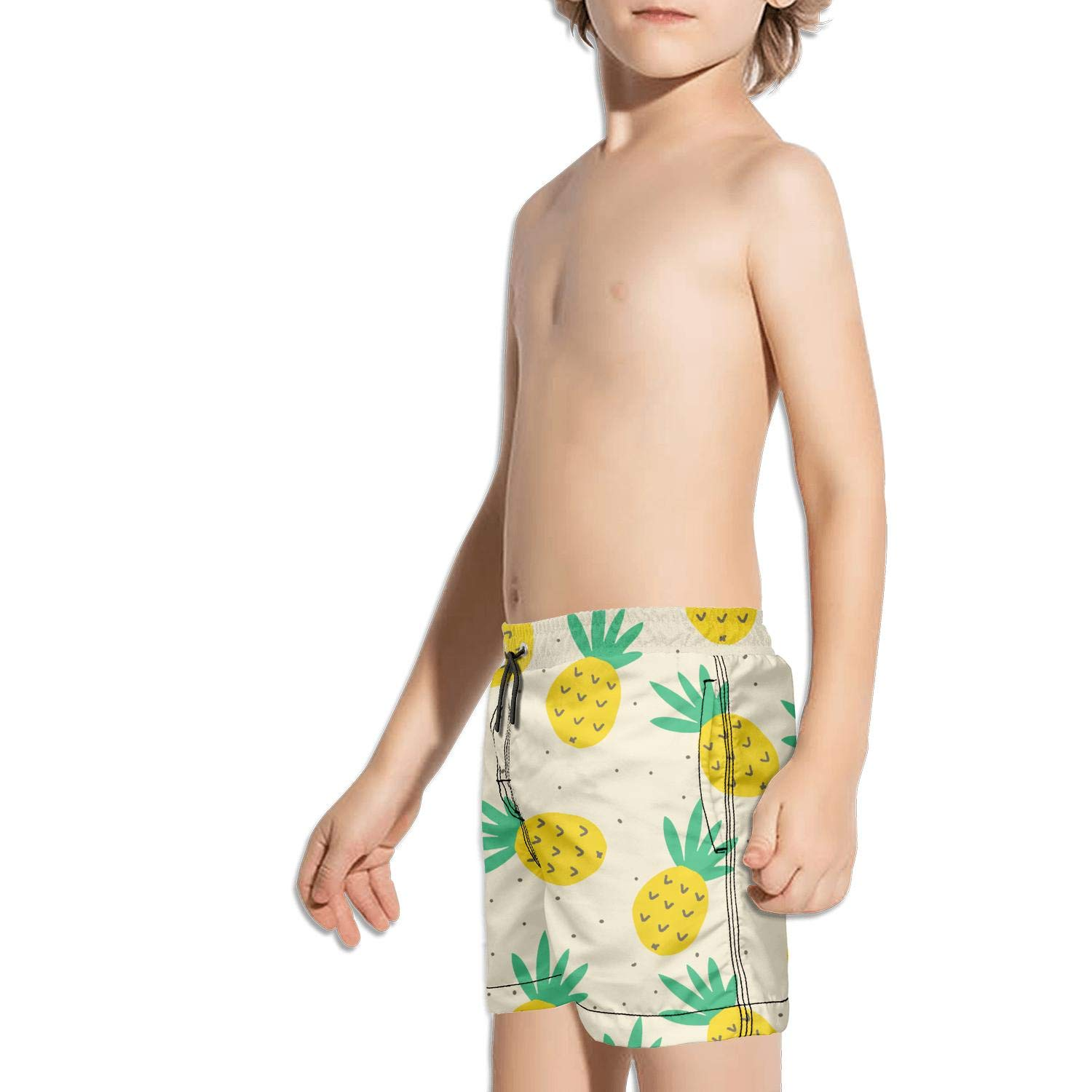 NAIT.2 Shorts Swim for Kid Quick Dry Stretch Board Fully Lined Swimming Tucks Retro Zipper ripe Pineapple Pink