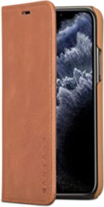 iPhone 11 Pro Max Leather Case Flip Cover Brown - KANVASA Pro Premium Genuine Leather Wallet Book Folio Case for The Original iPhone 11 Pro Max (6.5 inch) - Ultra Thin with Magnetic Closure