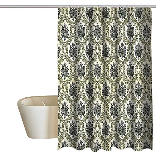 (MaryMunger Damask Decor Collection Polyester Shower Curtain Vintage Floral Damask Brocade with Abstract Bouquet Greenery Pattern Artwork Print Shower Curtain Rustic W48 x L72 Green Beige)