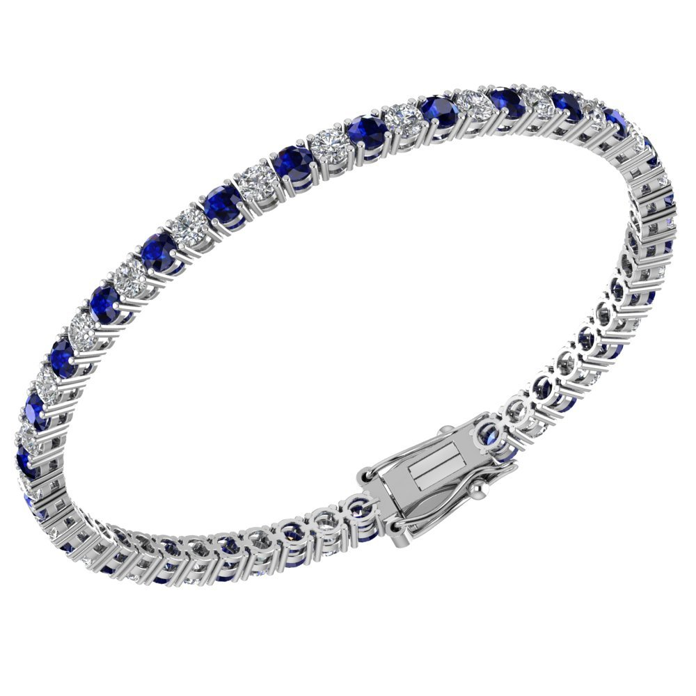 3mm Solid Sterling Silver Created Blue Sapphire and White Topaz 6.1CTW High Polished Tennis Bracelet with Box Clasp