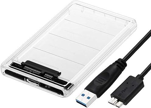 Pgige Caja de Disco Duro Transparente SATA de 2,5 Pulgadas a Tipo-c USB 3.1 Caja de Disco Duro móvil USB-C Leer Disco Duro portátil: Amazon.es: Electrónica