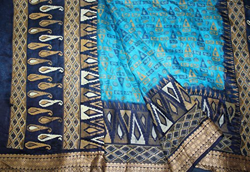 Blue Turquoise Sari (100% Pure Silk Indian Vintage Paisley Printed Bollywood Women Dress Crafts Decor Fabric Cultural Turquoise Blue Sari)