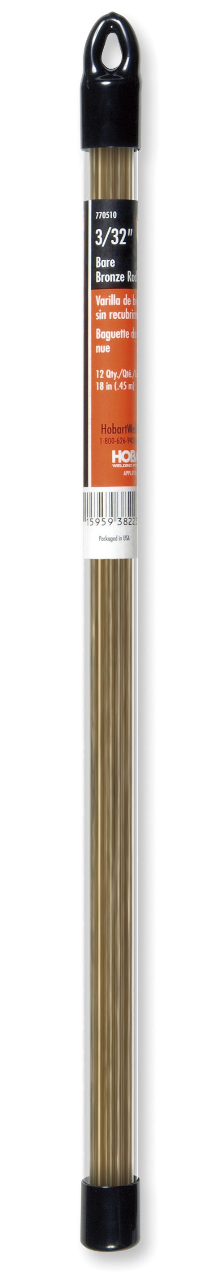 Hobart 770510 Low-Fuming Bare Bronze Gas Welding Rods, 3/32-by-18-Inch