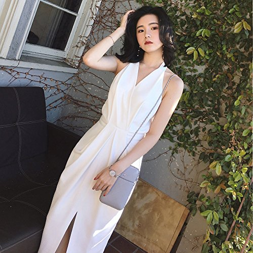 xs Cintura Hendidura blanco Stts Vestido Viento Párrafo Largo Sin Temperamento Mangas Shoulder Señoras 1wq6U